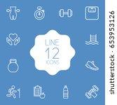 set of 12 training outline...   Shutterstock .eps vector #653953126