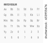 thin serif font contains... | Shutterstock .eps vector #653955676