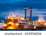 twilight image of a power plant ... | Shutterstock . vector #653956036