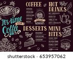 coffee food menu for restaurant ... | Shutterstock .eps vector #653957062
