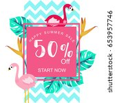 summer sale banner with... | Shutterstock .eps vector #653957746