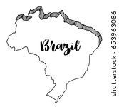 hand drawn  of  brazil map ... | Shutterstock .eps vector #653963086