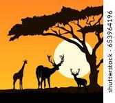giraffe and deers silhouettes | Shutterstock .eps vector #653964196