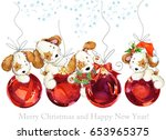Stock photo cute dog illustration watercolor background with christmas balls new year greeting card 653965375