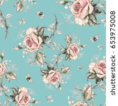 seamless rose pattern and... | Shutterstock . vector #653975008