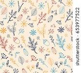 winter forest pattern. | Shutterstock . vector #653977522