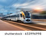 high speed train in motion at... | Shutterstock . vector #653996998