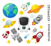 space icon vector collection set | Shutterstock .eps vector #653999182