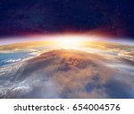 planet earth with a spectacular ... | Shutterstock . vector #654004576