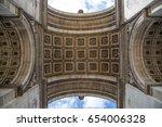 the arc de triomphe in paris as ... | Shutterstock . vector #654006328