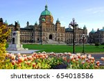 Small photo of Historic British Columbia provincial parliament building with spring tulips, Victoria, BC, Canada