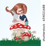 cute girl sitting on a mushroom ... | Shutterstock .eps vector #654021688