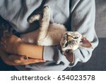 Stock photo happy young female with her cat home pets woman is holding and hugging her cute curious devon rex 654023578