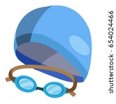 set of goggles and swimming cap ... | Shutterstock .eps vector #654024466