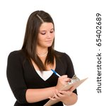 Pretty young woman with clipboard on white background.  Taking inventory, checking checklist. - stock photo