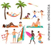 people on active sport vacation ... | Shutterstock .eps vector #654036316
