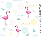flamingo seamless pattern.... | Shutterstock . vector #654042346