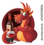 red dragon and red wine.... | Shutterstock .eps vector #654050806