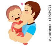 cute little baby being kissed... | Shutterstock .eps vector #654054736