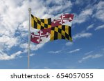 maryland flag  usa  waving in... | Shutterstock . vector #654057055