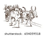 Hand Drawn Sketch Of Bullock...