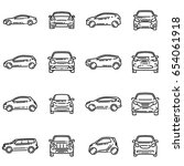 set of various doodle cars... | Shutterstock .eps vector #654061918