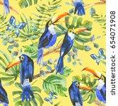 watercolor birds. tropical...   Shutterstock . vector #654071908