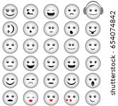 set of smiley faces with basic... | Shutterstock .eps vector #654074842