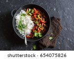 spicy beef with vegetables and... | Shutterstock . vector #654075826