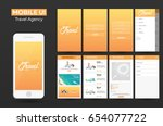 mobile app travel agency... | Shutterstock .eps vector #654077722