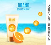 sun protection cosmetic product ... | Shutterstock .eps vector #654078802