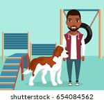 big dog is on the site for dog... | Shutterstock .eps vector #654084562
