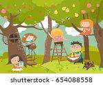 happy children harvesting | Shutterstock .eps vector #654088558