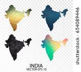 set of transparent polygonal... | Shutterstock .eps vector #654089446