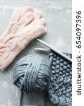 Gray Knitted Sweater. Handmade...