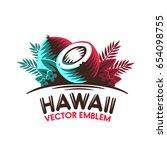 tropical coconut. logo  label.... | Shutterstock .eps vector #654098755