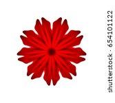 red flower on a white background | Shutterstock .eps vector #654101122