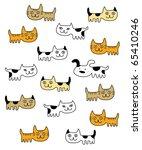 Stock vector cute kitten and puppy wallpaper 65410246