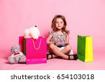 little cute girl in a dress... | Shutterstock . vector #654103018