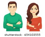 woman and man angry emotion | Shutterstock .eps vector #654103555