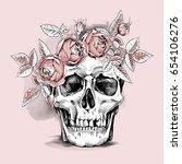 Skull In A Light Pink Rose Hea...