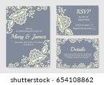 wedding invitation card set... | Shutterstock .eps vector #654108862
