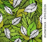 seamless leaves background.... | Shutterstock .eps vector #654123226