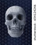 low poly vector skull front... | Shutterstock .eps vector #654124246