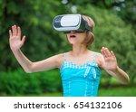 playful little girl using...   Shutterstock . vector #654132106