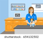 Stock vector veterinarian doctor holds dog on examination table in vet clinic vector cartoon illustration pets 654132502