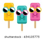 happy cute smiley face tropical ... | Shutterstock .eps vector #654135775