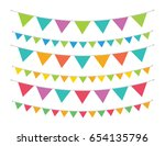 party bunting banner flag set... | Shutterstock .eps vector #654135796