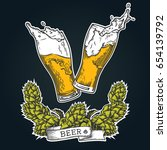 two glasses of beer with wreath ... | Shutterstock .eps vector #654139792