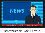 illustration.tv screen with the ... | Shutterstock . vector #654142936